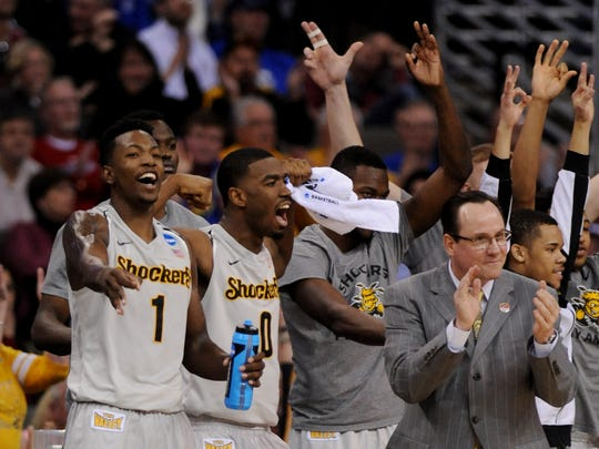 Wichita State Shockers head coach Gregg Marshall (right)