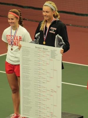 Emily Luetschwager of Stevens Point is the Division 1 state tennis champion.
