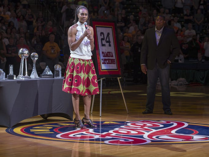 Jersey of ex-Fever star Tamika Catchings retired during ...