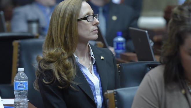 Rep. Holly Rehder, Missouri House bill sponsor, listens during Wednesday's House floor debate on her right-to-work bill.