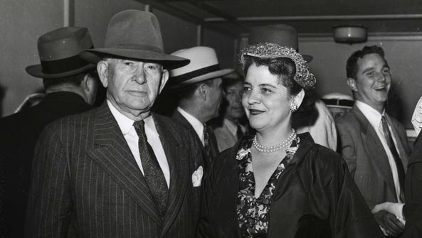 Mr. and Mrs. Alben Barkley at the 1953 Kentucky Derby,