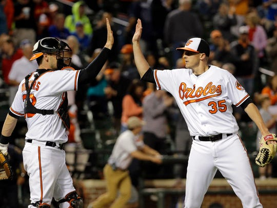 Baltimore Orioles reliever Brad Brach and catcher Matt
