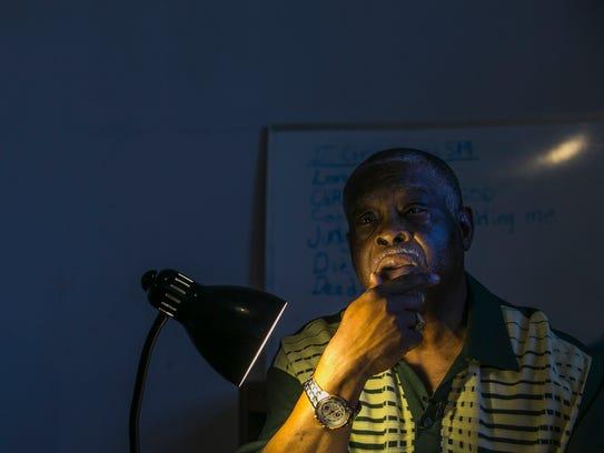 Pastor Bob Duckens, 71, leads a Sunday school class
