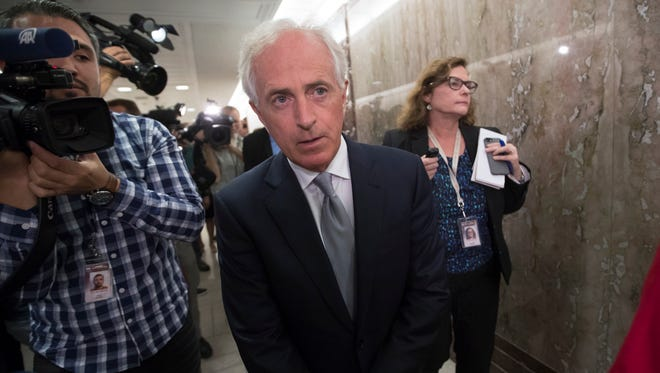 Senate Foreign Relations Committee Chairman Sen. Bob Corker, R-Tenn., walks on Capitol Hill after talking to reporters about President Donald Trump, Tuesday, Oct. 24, 2017, in Washington. (AP Photo/J. Scott Applewhite)
