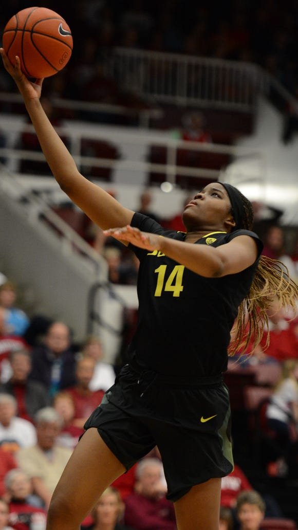 February 24, 2013; Stanford, CA, USA; Oregon Ducks forward Jillian Alleyne (14) drives to the basket against the Stanford Cardinal during the first half at Maples Pavilion. Mandatory Credit: Kyle Terada-USA TODAY Sports
