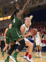 Taylor Gradinjan of FGCU tries to get past Shalonda