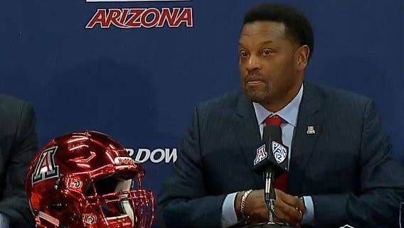 Kevin Sumlin is introduced as the new football coach at Arizona on Jan. 16, 2017.