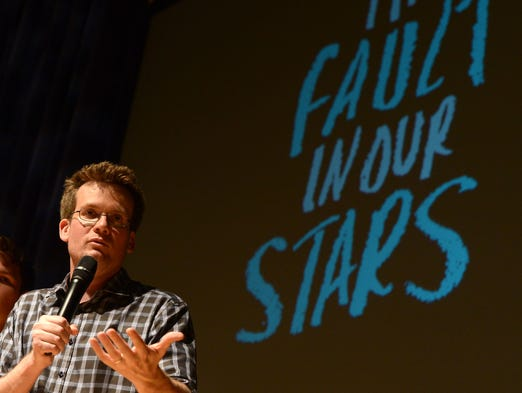 "John Green addresses the crowd during the May 8 fan event for ""The Fault in Our Stars"" in Nashville, Tenn."
