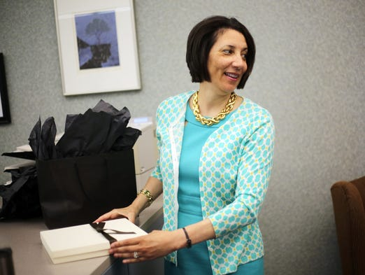 Outgoing Chemeketa Community College President Cheryl Roberts in her office.