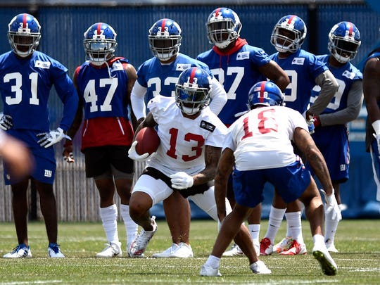 New York Giants wide receiver Odell Beckham Jr. (13) seen during the first day of minicamp in East Rutherford on Tuesday, June 13, 2017.