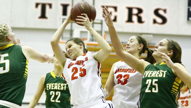 Ema Fehrenbach (25) is a reason why the Marshfield girls basketball team is two wins away from the program's first state tournament appearance since 2009.