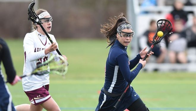 Game action between Arlington and Wappingers at Freedom Plains on Friday, April 8th, 2016.