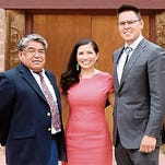 Courtesy of Navajo Nation Office of the Speaker From left, Navajo Nation Division of Public Safety Executive Director Jesse Delmar, Attorney General Ethel Branch and Washington Office Executive Director Jackson Brossy pose on Thursday at the Navajo Nation Council Chamber in Window Rock, Ariz., after their confirmations.