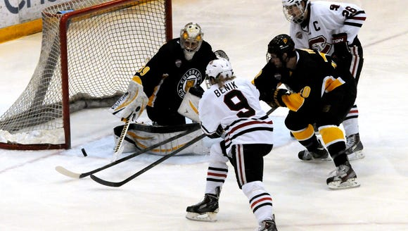 Colorado College's Josh Thorimbert (39) blocks a shot