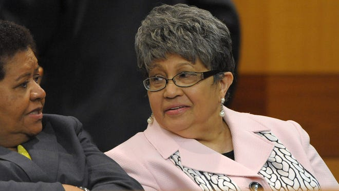 Former Atlanta Public Schools Superintendent Beverly Hall, right, waits for motions at a Fulton County Superior Court hearing for several dozen Atlanta Public Schools educators facing charges alleging a conspiracy of cheating on standardized tests in Atlanta on May 3, 2013. Hall died Monday, March 2, 2015. She had Stage IV breast cancer.