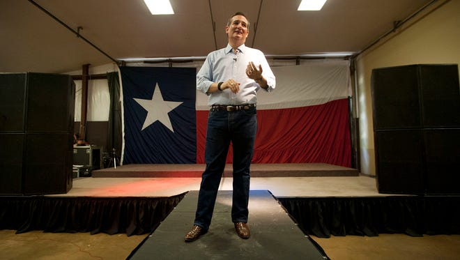 Sen. Ted Cruz, R-Texas, speaks during a campaign stop on Sept. 3, 2015, in Tyler, Texas.