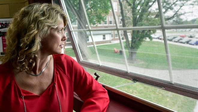 Kim Garris, a Shippensburg University professor and chair of the university's department of communications/journalism, looks out over campus on Monday, September 19, 2016. Faculty at SU are pondering a decision to strike if a contract agreement can't be reached.