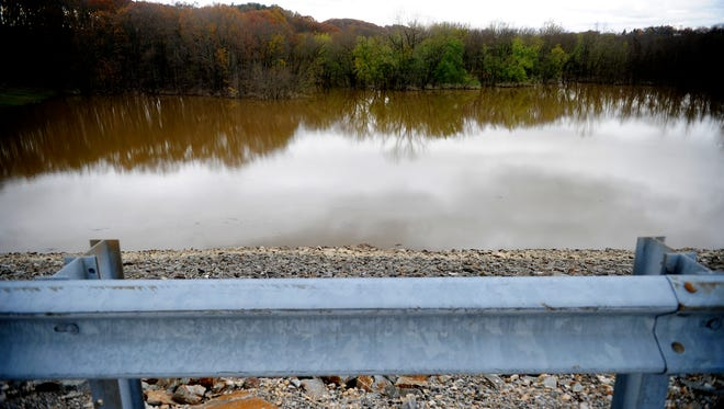This photo shows the swollen banks of the west branch of the Codorus Creek near Indian Rock Dam in North Codorus Township on Oct. 31, 2012. With Indian Rock Dam's gates shut during Hurricane Sandy's onslaught, water from the west branch of the Codorus Creek overflowed its banks in West Manchester Township and made Route 616 impassable.