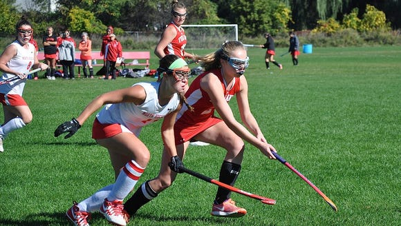North Rockland's Kerri Gutenberger (l) and Fox Lane's
