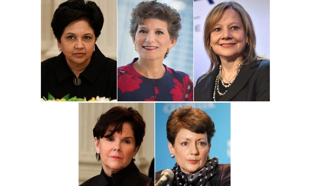 This photo combination show the five highest-paid female CEOs for 2017, as calculated by The Associated Press and Equilar, an executive data firm. Top, from left: Indra Nooyi, PepsiCo, $25.9 million; Debra Cafaro, Ventas, $25.3 million; and Mary Barra, General Motors, $21.9 million. Bottom, from left, Phebe Novakovic, General Dynamics, $21.2 million; and Lynn Good, Duke Energy, $21.1 million. (AP Photo)