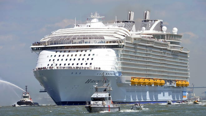 The Harmony of the Seas will be based at Port Canaveral starting in may 2019.  Harmony of the Seas sails for Southhampton, England, from Saint-Nazaire shipyard in  France on Sunday. The 1,187-foot-long ship cost $1 billion and carries 8,500 passengers and crew. A photo taken on May 15, 2016 shows the Harmony of the Seas cruise ship as it sails from the STX Saint-Nazaire shipyard, western France, out to sea. The world's biggest-ever cruise ship, the 120,000-tonne Harmony of the Seas, a luxury home on the waves for 8,500 passengers and crew, was handed over by a French shipyard after a 40-month engineering feat. At 66 metres (217 feet), it is the widest cruise ship ever built, while its 362-metre length makes it 50 metres longer than the height of the Eiffel Tower.The floating town, which cost close to one billion euros, has 16 decks and will be able to carry 6,360 passengers and 2,100 crew members.  / AFP PHOTO / JEAN-FRANCOIS MONIERJEAN-FRANCOIS MONIER/AFP/Getty Images ORIG FILE ID: 551925771