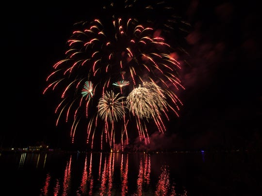 The fireworks show on Friday night in Burlington.