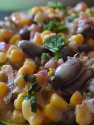 This Mexican Inspired Corn and Bean Dip is scrumptious