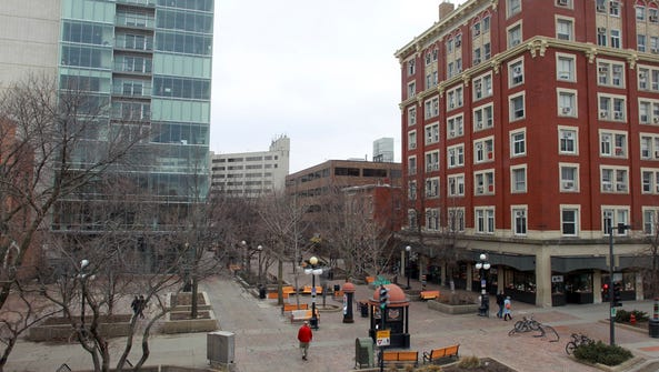 The pedestrian mall is seen on Wednesday, March 19,