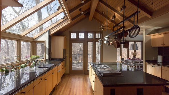 The key spot is the big, open kitchen with a cathedral