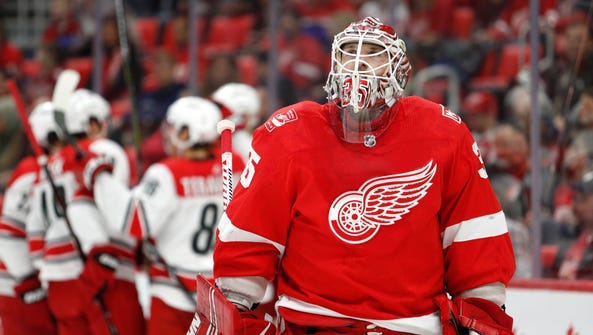 Red Wings goaltender Jimmy Howard (35) reacts after