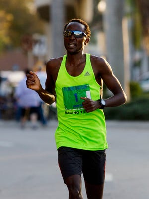 Eliud Ngetich, from Jacksonville, was the men's winner of the Edison Festival of Light 5K on Saturday. He won with a time of 13:59.