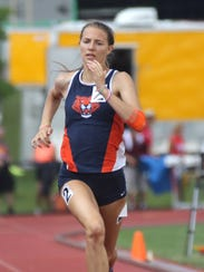 Galion sophomore Kerrigan Myers competes Friday in the 200 meter dash. She qualified in four evens and earned medals in the 100 hurdles and 4x100 relay.