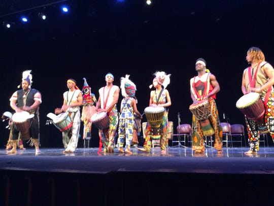 These drummers are playing the jembe drum, the one that sets the rhythm for all the other drums, as well as the dancers. They are part of the Universal African Dane and Drum Ensemble that performed in Edison on Saturday.