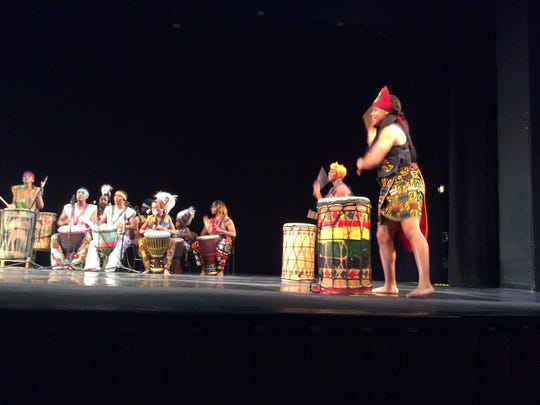 In this dance, young women danced and played drums during a program of West African dances and drumming at the Middlesex County College Performing Arts Center in Edison on Saturday.
