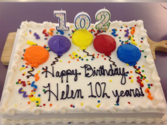 The birthday cake for Helen Urban's 102 years.