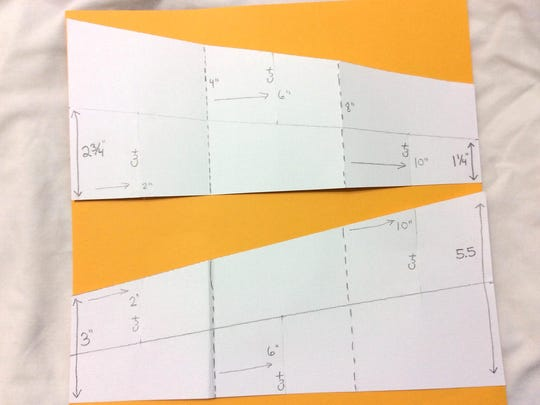Two trapezoid shapes, with one end being 5½ inches tall and the other end 3 inches tall, make the body of the 3-D Moon Card.