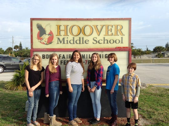 Hoover Middle School's Community Problem Solving team. From left: Molly Syring, Summer Gayden, Alexis Braun, Melanie King, Sage Forholt and Thomas Greer.