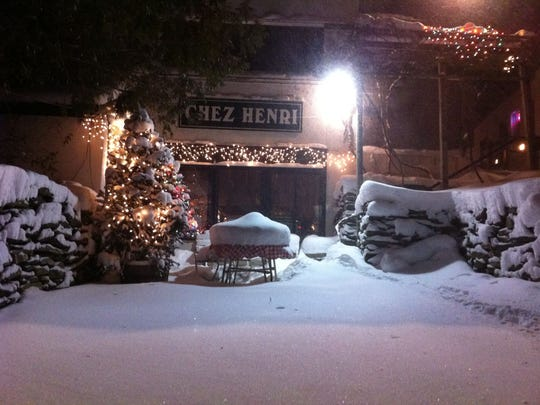 Entrance to Chez Henri in Historic Sugarbush Village.