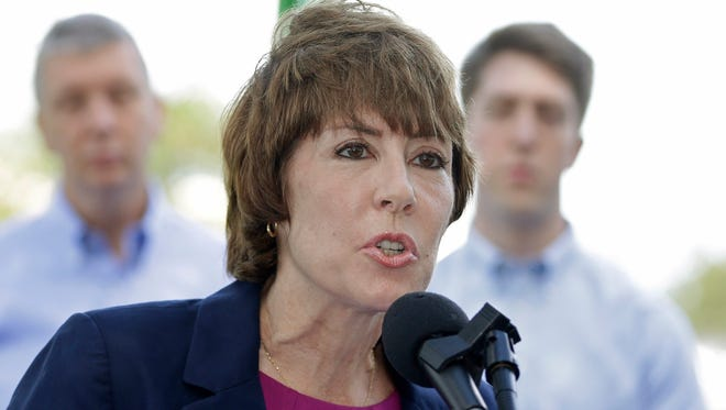 Former Democratic U.S. Rep. Gwen Graham speaks to reporters after announcing she is running for Florida governor in Miami Gardens, Fla., on Tuesday, May 2, 2017. Graham served one term in Congress, choosing not to seek re-election in 2016 after new congressional maps made her district firmly Republican. (AP Photo/Alan Diaz)