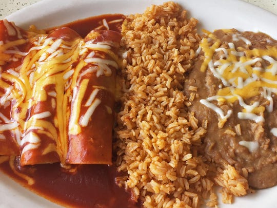 Tres enchiladas: beef, chicken, and cheese with rice and beans