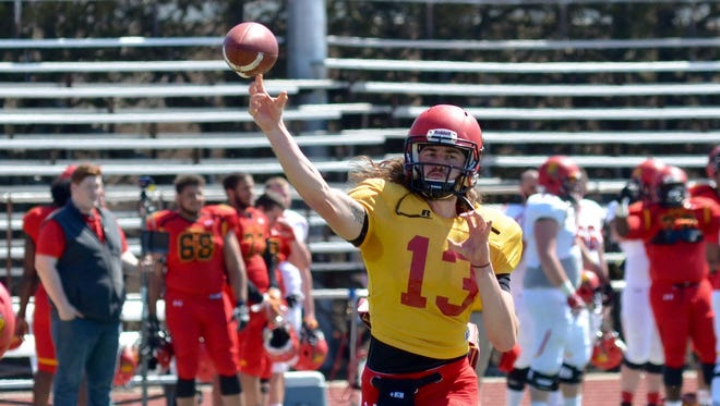 Ferris State quarterback Trevor Bermingham throws during Saturday's spring football game at Top Taggart Field.