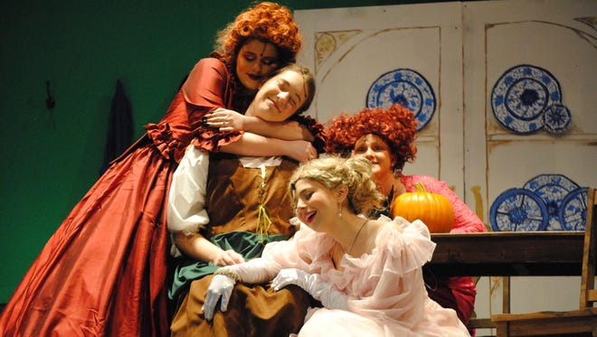"""Madame (Gabriela Winegeart), Ella (Allie Huston), Charlotte (Raegen Bass), and Gabrielle (Lauren Drew), share a moment of contented peace after reminiscing over what """"A Lovely Night"""" they had at the ball, (""""Cinderella,"""" presented by Taylor High School)."""