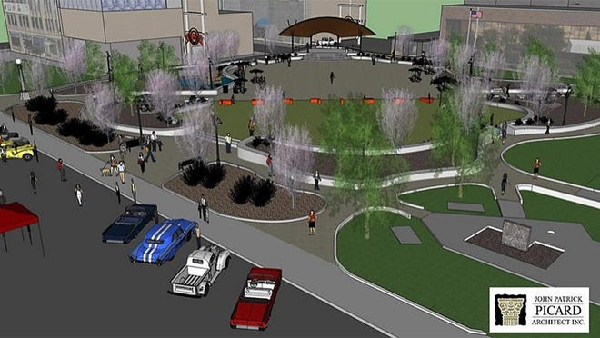 A view of a digital illustration of what a revamped Duncan Plaza may look like with a new amphitheater and walkways.