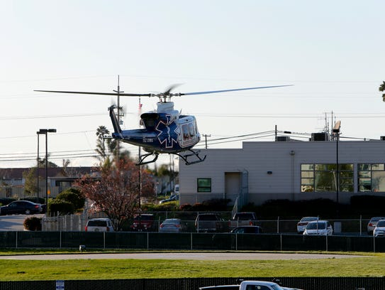 A Fort Hunter Liggett helicopter leaves Natividad Medical