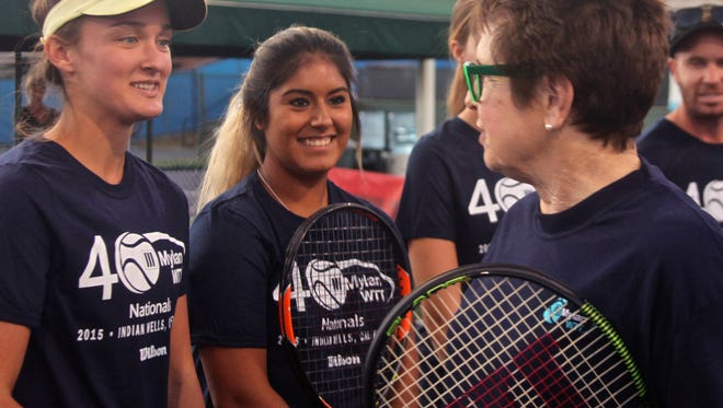 Tennis legend Billie Jean King talks to Palm Desert players Halle Van Natta (left) and Alexia Rodriguez (right) during a Wilson tennis clinic for Myland WTT Rec League players at Indian Wells Tennis Garden on Friday, Nov. 6, 2015.