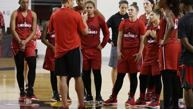 U of L's head coach Jeff Walz instructs his team during basketball practice.Oct. 5, 2016