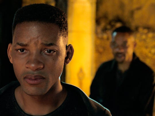 "Will Smith, portraying Junior, foreground, and Henry Brogan in the Ang Lee film ""Gemini Man."""