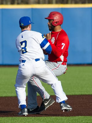 Delaware's Nick Tierno (3) had three hits in the Blue Hens' 11-2 win over St. Joseph's on Tuesday.