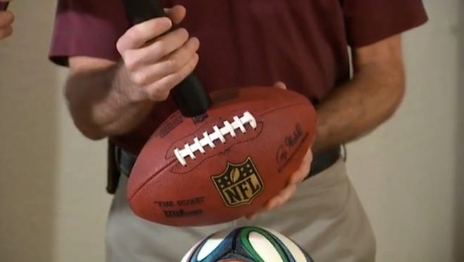 Tom Neir demonstrates the TorrX, a portable sports-ball inflator that his family has patented. They say the device could have prevented the NFL's recent controversy over deflated footballs.