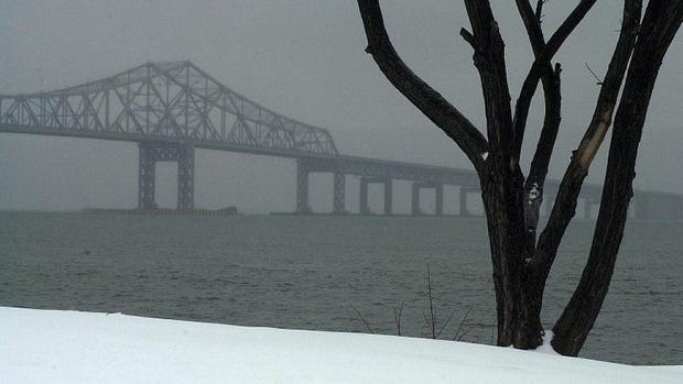 Sleet and freezing rain shroud the Tappan Zee Bridge during a winter storm. No snow is expected as a storm comes in Monday night into Tuesday.